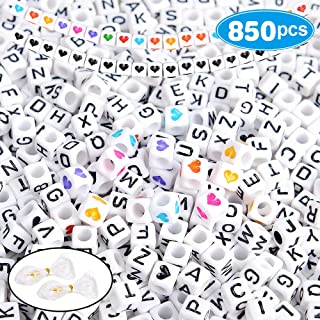 850+Pcs Letter Beads 6x6mm A-Z Cube White Acrylic Alphabet Beads for DIY Jewelry Making Kit Bracelets Necklaces Include 30Pcs Black Heart Beads, 40Pcs Colorful Heart Beads and Elastic Crystal Strings