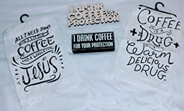 INC I Drink Coffee for Your Protection 5 x 10 Wood Plaque Sign SJT13158 SJT ENTERPRISES