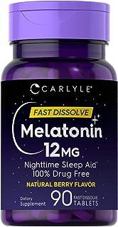 Carlyle Melatonin 12 mg Fast Dissolve 90 Tablets | Nighttime Sleep Aid | Natural Berry Flavor | Vegetarian, Non-GMO, Glute...