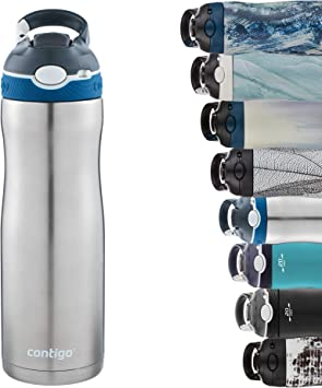 Contigo Ashland Chill Autospout Drinking Bottle with Straw, Stainless Steel Water Bottle, Leakproof, Insulated Bottle for Sports, Bike, Hiking, 590ml