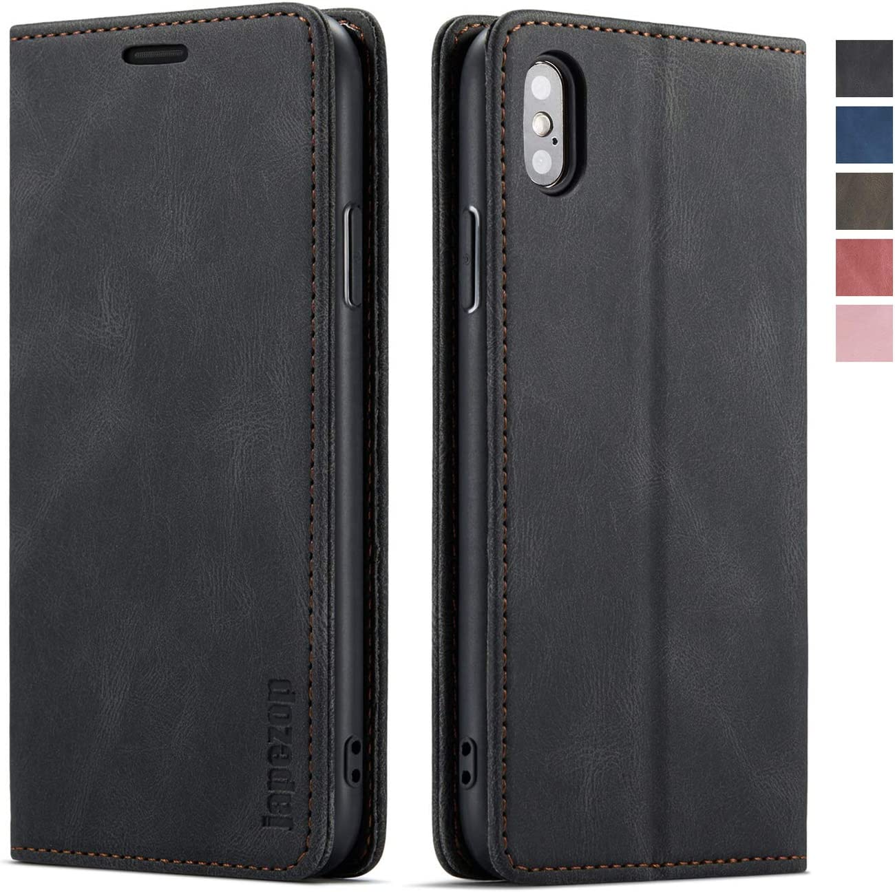 japezop iPhone Xs iPhone X Wallet Case with Card Holder RFID Blocking, Premium PU Leather Wallet Case with Magnetic Kickstand and Flip Cover for iPhone X (2017) / Xs (2018) 5.8 inch (Black)