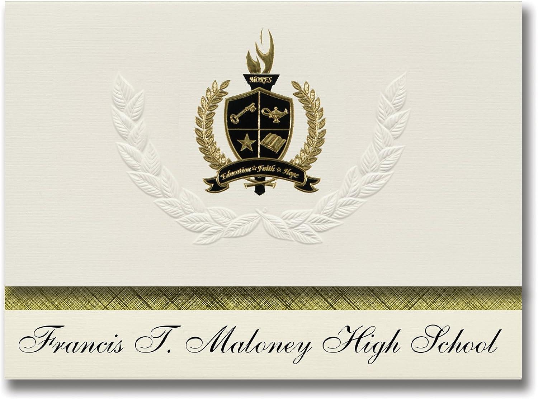 Signature Announcements Francis T. Maloney High School (Meriden, CT) Schulabschluss Ankündigungen, Prsidential-Stil, Grundpaket mit 25 Goldfarbenen und schwarzen metallischen Folienversiegelungen