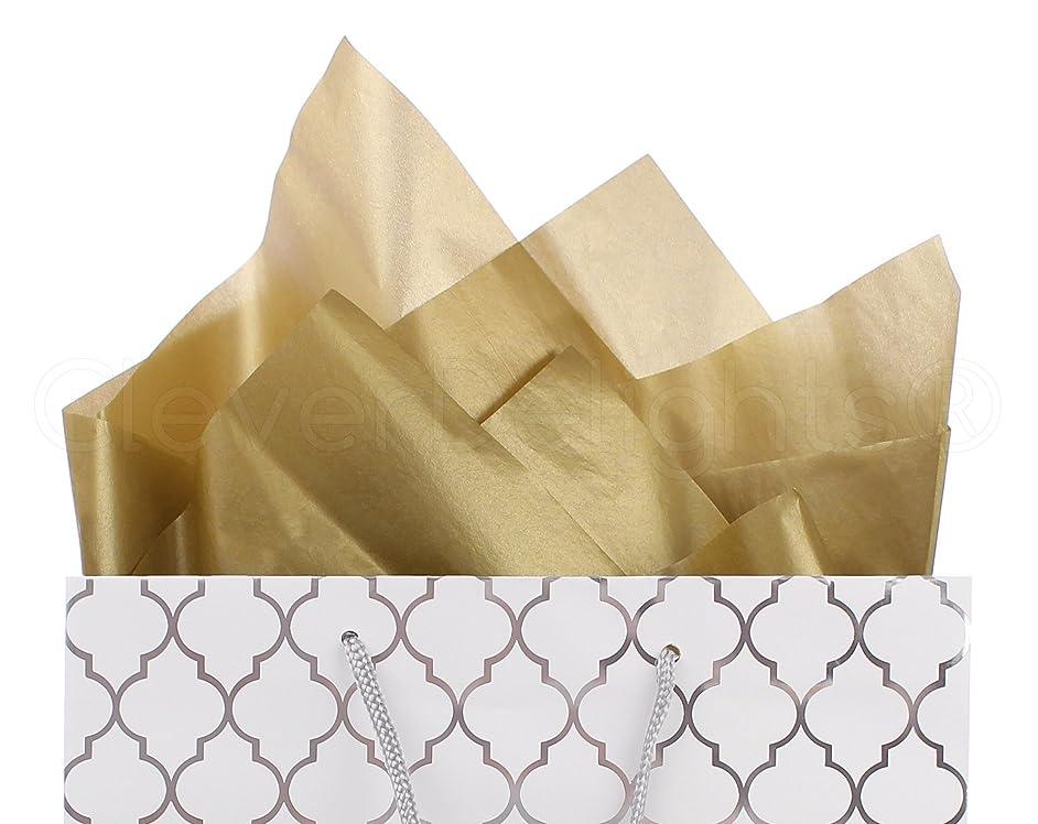 CleverDelights Metallic Gold Premium Tissue Paper - 100 Sheets - 20