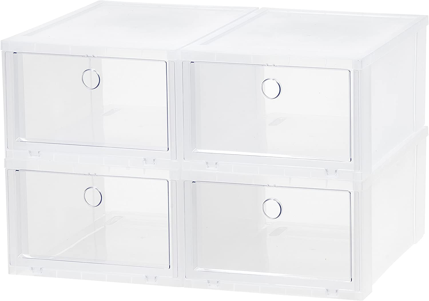 IRIS Wide Clear Pull Down Front Access shoes Box, 4 Pack