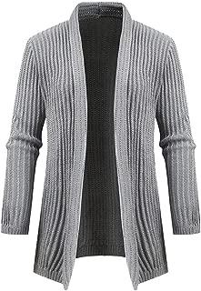 IZHH Mens Cardigan Solid Casual Winter Jacket Slim Outwear Overcoats Long Sleeve