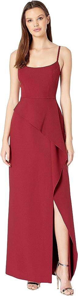 """Steluh"" Gown with Asymmetrical Peplum"