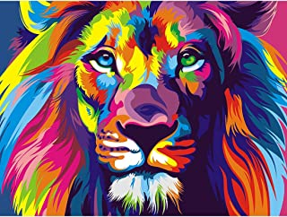 5D Diamond Painting Lion Animal Full Drill by Number Kits for Adults Kids, DIY Rhinestone Paint with Diamonds for Arts Craft Decoration by Yomiie (12x16inch)