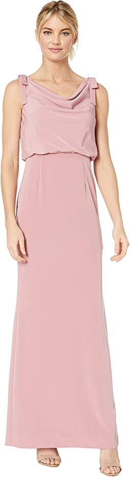 Cowl Neck Crepe Evening Gown