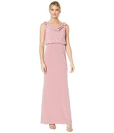 Adrianna Papell Cowl Neck Crepe Evening Gown (Rose) Women