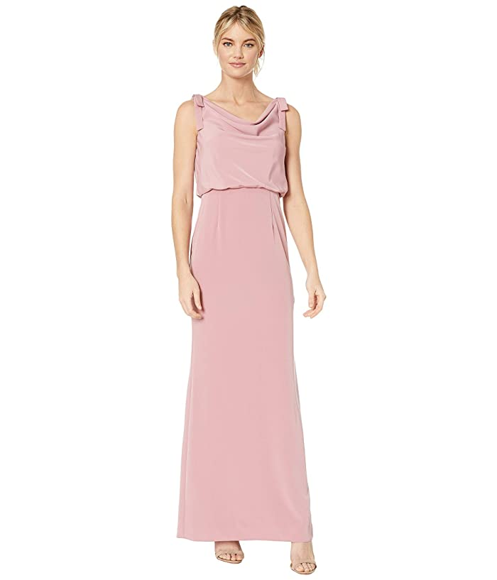 Adrianna Papell  Cowl Neck Crepe Evening Gown (Rose) Womens Dress
