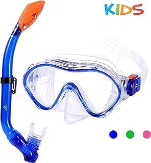 SKL Kids Snorkel Set Dry Top Snorkel Mask Snorkeling Gear Anti-Fog Anti-Leak Scuba Diving Mask and Snorkel Set for Children, Boys, Girls, Youth, Junior Aged 6-15