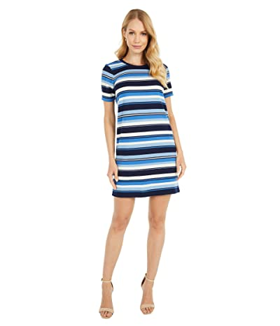 MICHAEL Michael Kors Petite Court Stripe Tee Dress (Chambray) Women