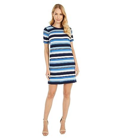 MICHAEL Michael Kors Petite Court Stripe Tee Dress (Chambray) Women