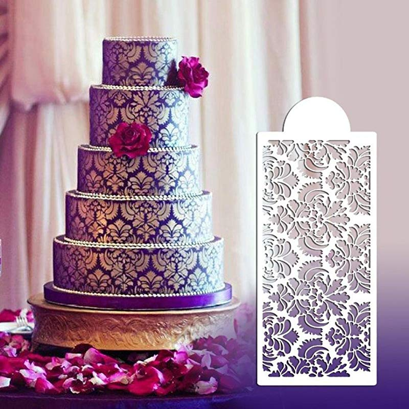 Rucan Baking Tool Side Decor Mould Damask Lace Flower Border Fondant Cake Stencil