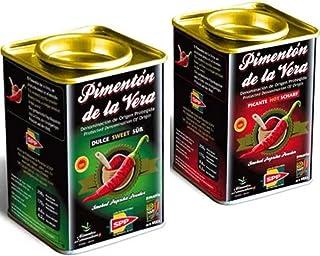 Pimentón de la Vera Ahumado en Lata, Pack 2x175g ( Dulce y Picante ). Producto con la Denominación de Origen Protegida D.O.P. Condimento Apto para Celíacos.