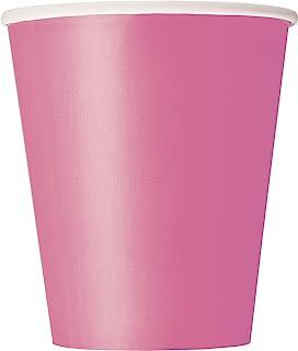 أكواب ورقية للاستعمال مرة واحدة من يونيك إندستريز، مستلزمات الحفلات - وردي فاقع، 266 مل، عبوة من 14 قطعة