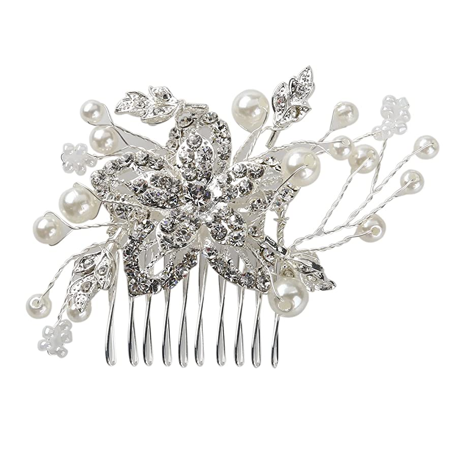 Charm Bridal Wedding Silver Crystal Pearls Women Hair Comb Clip Beautiful Jewelry Crystal Hair Clips