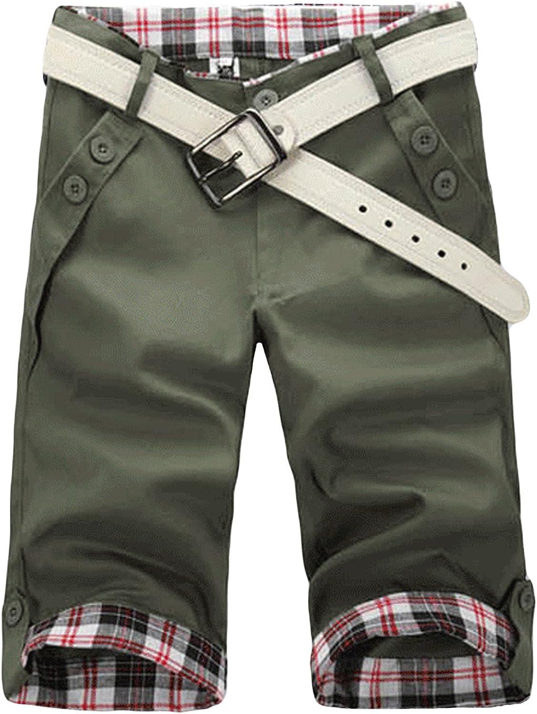 Letuwj Men`s Lattice Pattern Cargo Shorts