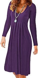 Women's Round Neck Long Sleeve Pleated Loose Dress Knee Length Casual Plain T Shirt Midi Dress