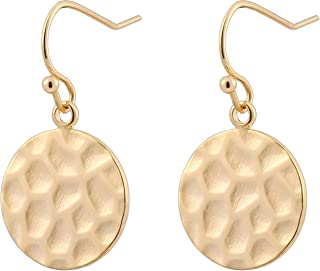 18K Gold Circle Drop Earrings Small Round Hoop for Women Minimalist Jewelry for Girls