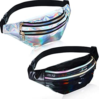 2 Pieces Holographic Fanny Pack Metallic Color Sport Waistbag for Women Men Kids