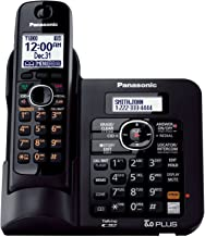 Panasonic KX TG6641B DECT 6.0 Cordless Phone with Answering System, Black, 1 Handset