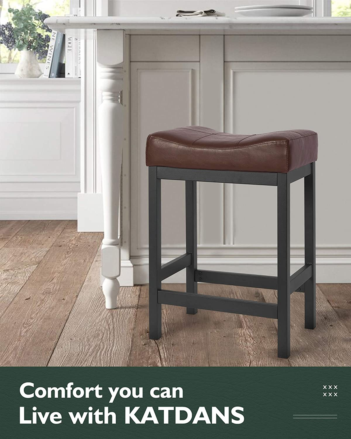 Buy Katdans Bar Stools Set Of 2 Counter Height Stools 24 Inch Saddle Stool Pu Leather Kitchen Stools Brown Black Metal Base Ks861p B Online In Italy B08xjrk9x5