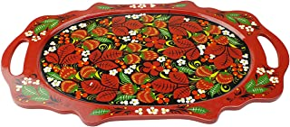Khokhloma Tray Oval Hand Made in Russia Traditional Vintage Retro Classic Hand Painted Decoration Soviet Hohloma Folk Art on Wooden Gift Natural Lacquered