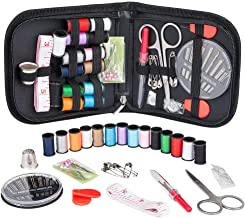 Sewing Kit for Traveler, Adults, Beginner, Emergency, DIY Sewing Supplies Organizer Filled with Scissors, Thimble, Thread, Sewing Needles, Tape Measure etc (Black, S)