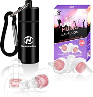 High Fidelity Music Ear Plugs for Women, Hearprotek 20db Noise Reduction Earplugs-Hearing Protection for Concert, Musicians, DJ's, Festival, Nightclub, Office and Other Loud Events (Pink)