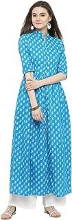 Sera Women's Wear Blue long Front Slit Kurta and White Palazzo Set