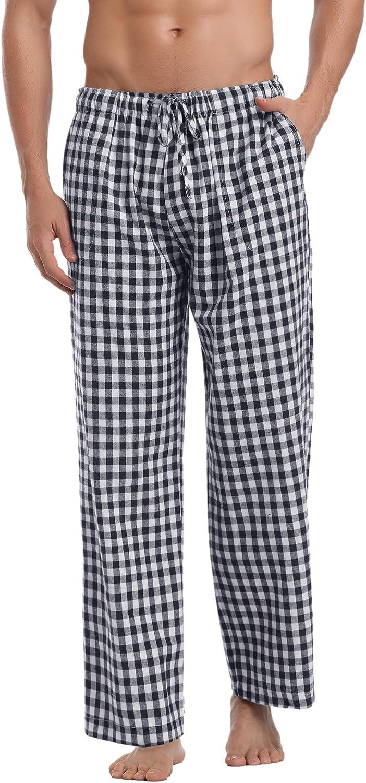Aibrou Herren Schlafanzughose Kariert Lange Karo Freizeithose Plaid Loungewear mit Kordelzug und 2 Seitentasche Nachtw/äsche f/ür M/änner