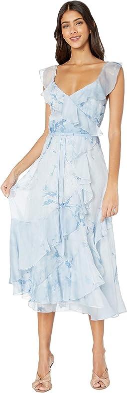 Strapless V-Neck Printed Chiffon Tea-Length Gown