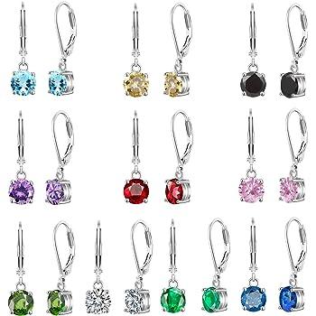 4-10 Pairs Silver Small Hoop Earrings with CZ/Opal Charm for Girls-Flawless Opal/Cubic Zirconia LeverBack Drop Earrings for women