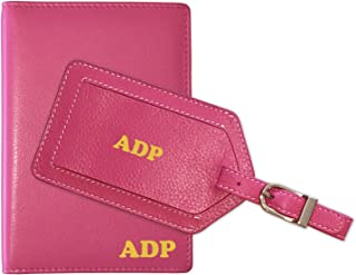 Personalized Monogrammed Hot Pink Leather RFID Passport Wallet and Luggage Tag