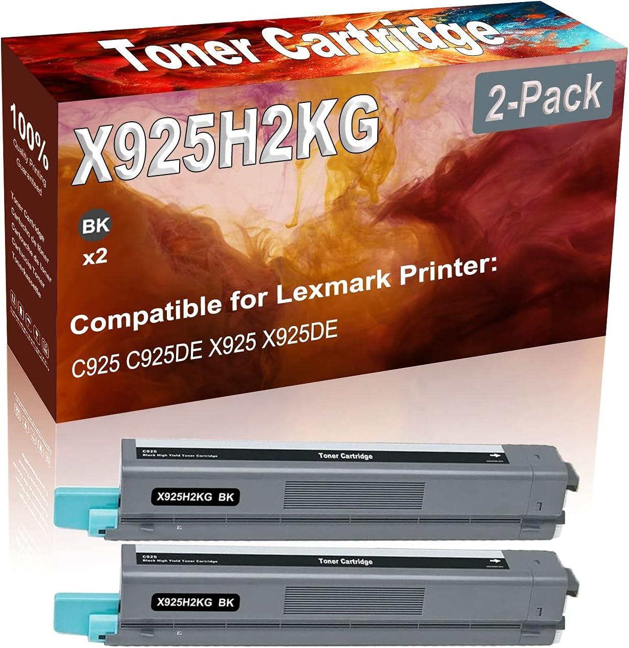 2-Pack (Black) Compatible C925 C925DE X925 X925DE Laser Printer Toner Cartridge (High Capacity) Replacement for Lexmark X925H2KG Printer Toner Cartridge