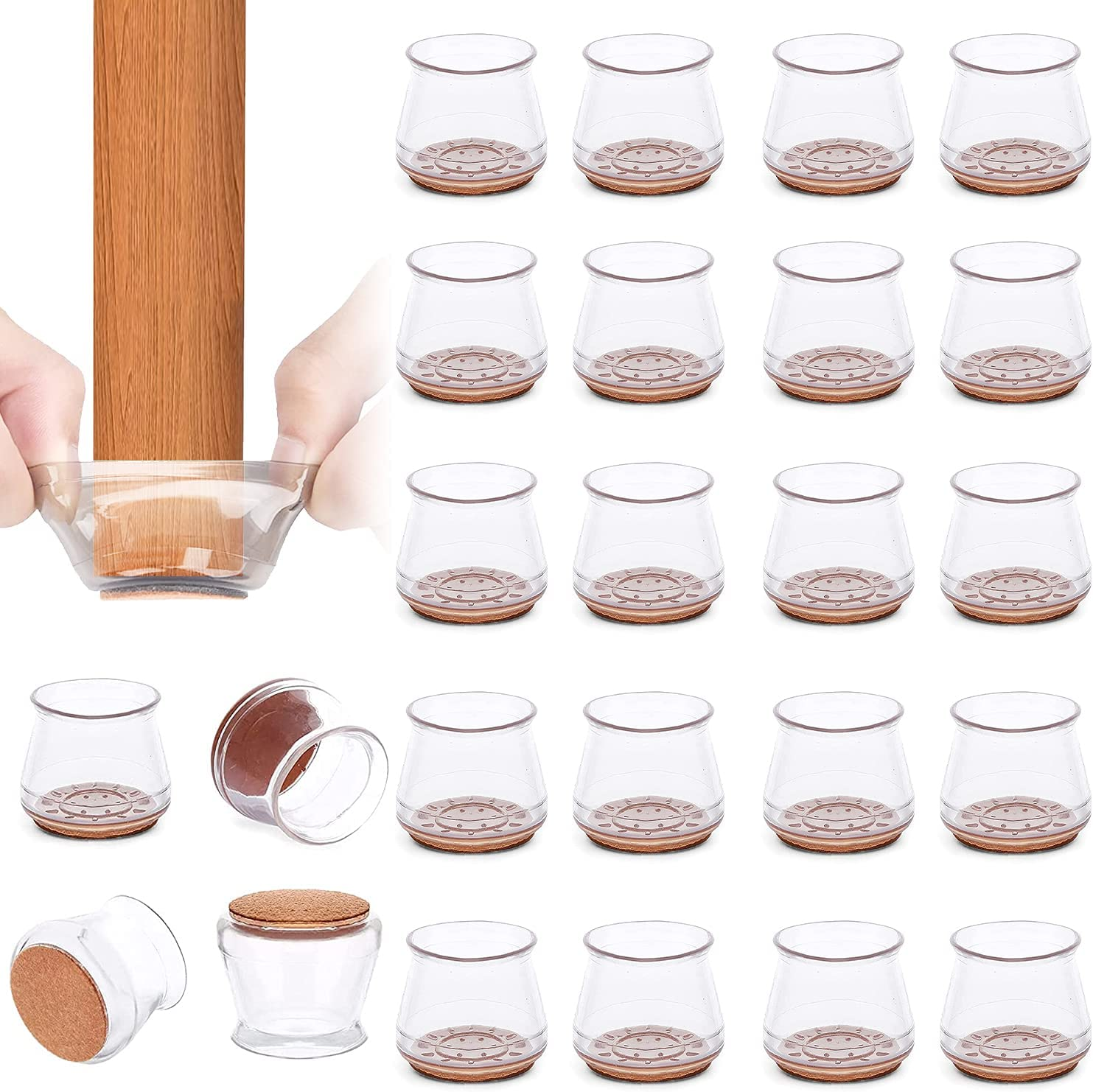 Upgraded Silicone Chair Leg Floor Protectors, 24Pcs Transparent Chair Leg Caps Furniture Foot Protector Pads with Soft Felt Bottom to Prevent Scratches & Noise-Free Moving Table Feet Covers (Large)