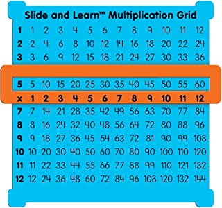 """Really Good Stuff Slide and Learn Multiplication Grids, 5⅞"""" by 5½"""" (Set of 12) – Thin Plastic Multiplication Grid with Viewer Window – Help with Multiplication Problems and Practice Tracking"""