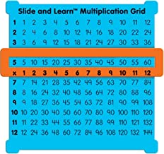 "Really Good Stuff Slide and Learn Multiplication Grids, 5⅞"" by 5½"" (Set of 12) – Thin Plastic Multiplication Grid with Viewer Window – Help with Multiplication Problems and Practice Tracking"
