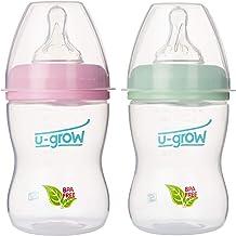 U-Grow Anti Colic Wide Neck Snap Lock Baby Feeding Bottle (Pack of 2) (Pink & Green, 250ml)