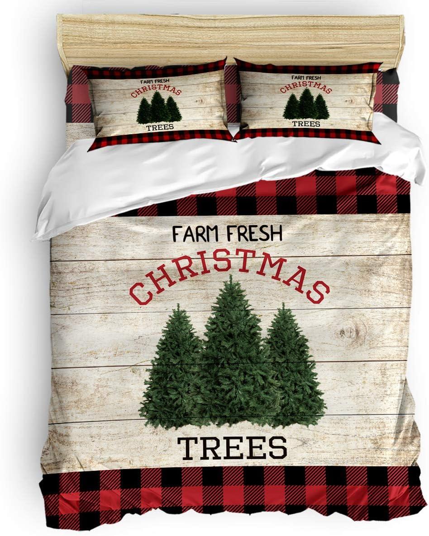 YOKOU San Diego Mall Twin Size Duvet Cover Set Pieces Christmas Farm T Fresh In a popularity 4