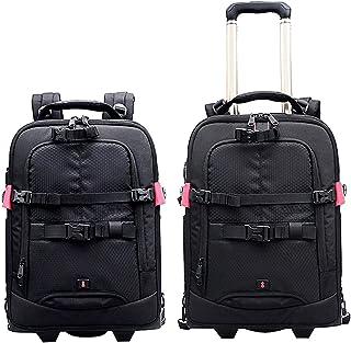 COOPIC BP-60 Professional DSLR Camera Trolley back bag pack for Camera Tripod Flash Light Lens Laptop for Air Travelling (Black)