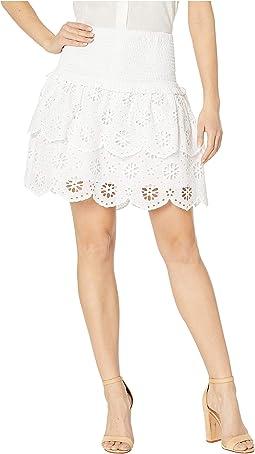 Eyelet Smocked Skirt