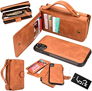 for iPhone Xs iPhone X Wallet Case - Urvoix Premium Leather Zipper Purse with Strap, Detachable Removable Magnetic Case with Card Holder Flip Cover for iPhone 10(5.8-inch Screen), Brown
