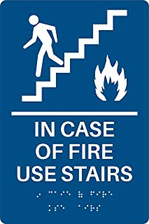 in Case of Fire Use Stairs ADA Sign (Blue)