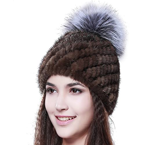 03f619de559e1c FURTALK Women's Pom Winter Fur Hat Cold Winter Genuine Thick Mink Fur Cap  Fox Fur Original
