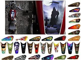 East Coast Vinyl Werkz Motorcycle Gas Tank Decals/Sets - for Harley Davidson Sportster Honda Shadow Suzuki Kawasaki Indian Yamaha (Coffin/Grim Reaper - 1pc Top Tank Decal)