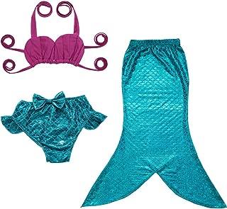 JFEELE 3pcs Toddler Mermaid Swimsuit for Baby Girls Mermaid Tail Bathing Suit Bikini Swimming Set - 2-8T