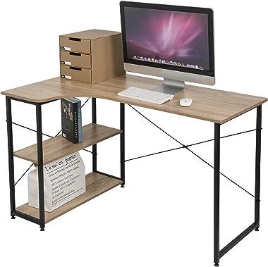 EUGAD Scrivania con Libreria da Ufficio Tavolo per Computer da Studio con 2 Ripiani in Legno Design Industriale Legno Chiaro 0073ZZ