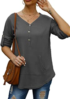 Womens Casual Long Sleeve Henley Pocket T Shirts Blouses Sweatshirts Tops